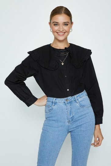 Black Cotton Bibbed Shirt
