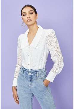 Ivory Burnout Animal Blouse
