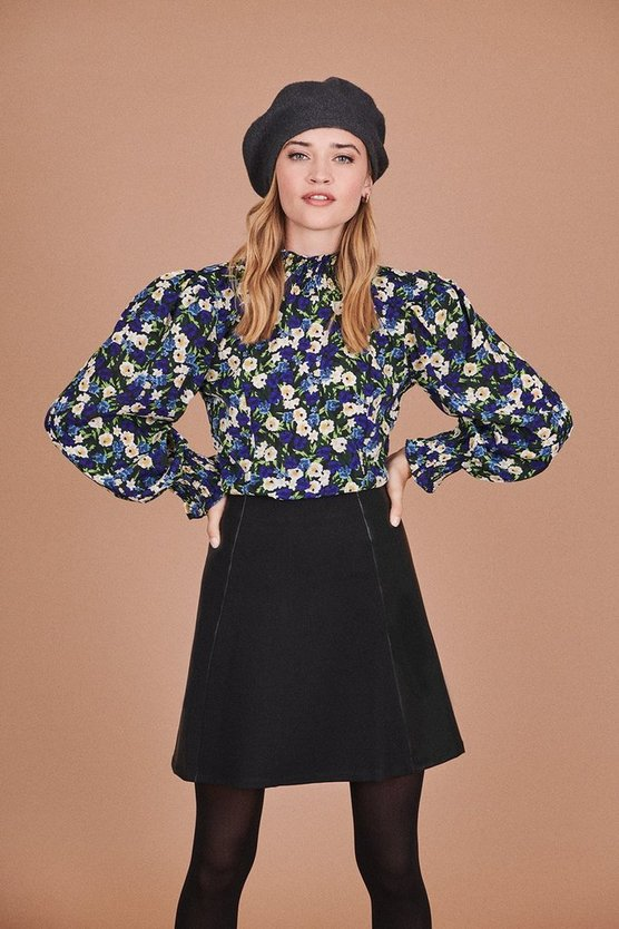 Blue High Neck Floral Long Sleeve Top