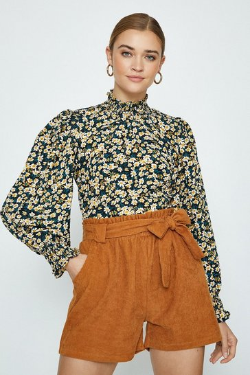 Yellow High Neck Floral Long Sleeve Top