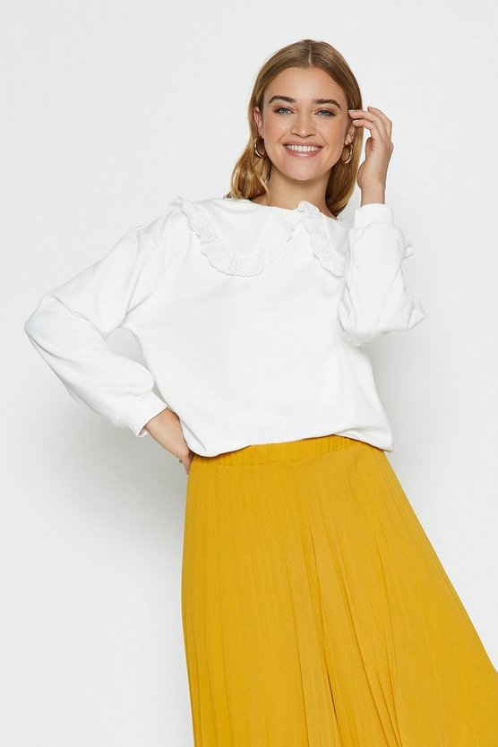 Ivory Lace Collar Sweat Top