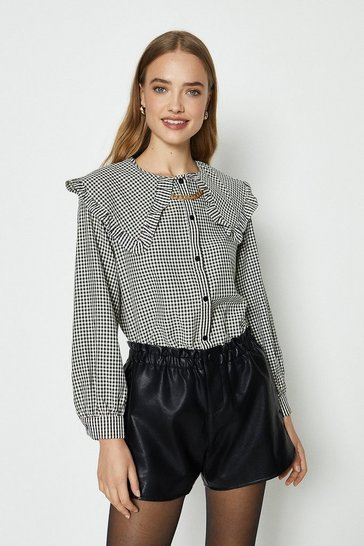 Mono Gingham Check Bibbed Blouse