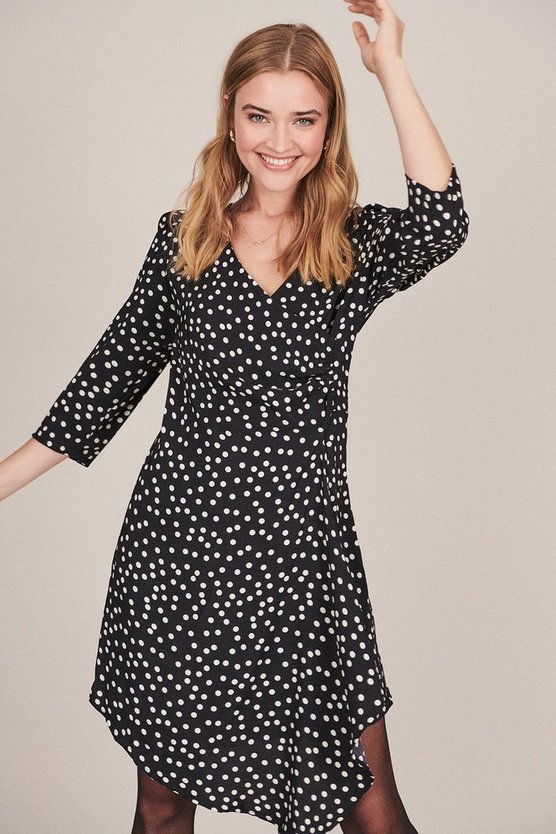 Black Polkadot Ruched Wrap Dress