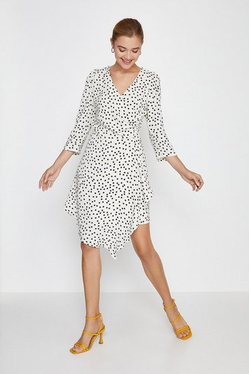 Ivory Polkadot Ruched Wrap Dress