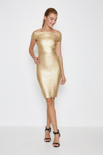 Gold Metallic Foil Bandage Midi Skirt