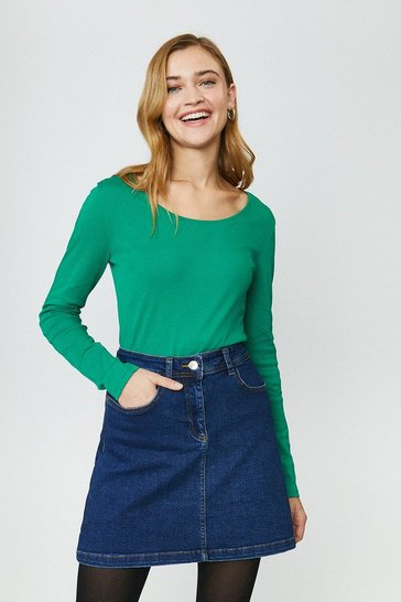 Green Cotton Long Sleeved Top