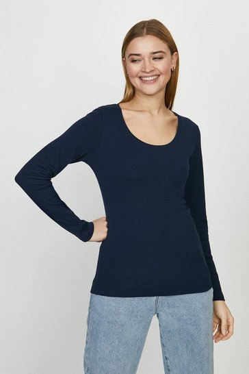 Navy Cotton Long Sleeved Top