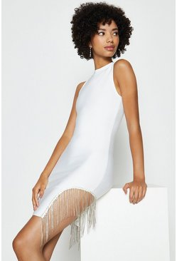 Ivory Diamante Tassel Bandage Mini Dress