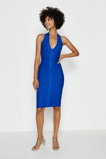Cobalt Halterneck Bandage Mini Dress