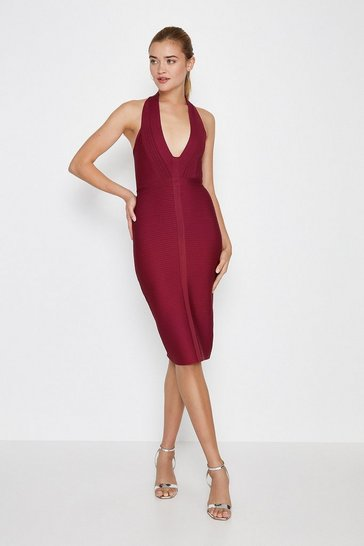 Wine Halterneck Bandage Mini Dress