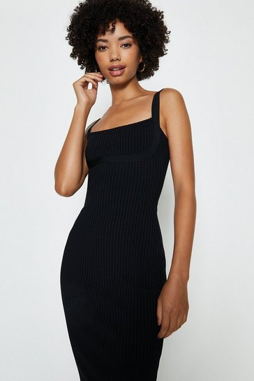 Black Knitted Bandage Midi Dress