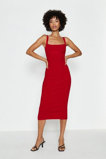 Red Knitted Bandage Midi Dress