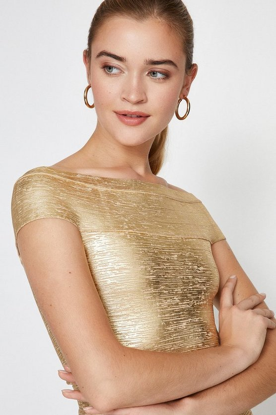 Gold Foil Metallic Bandage Top