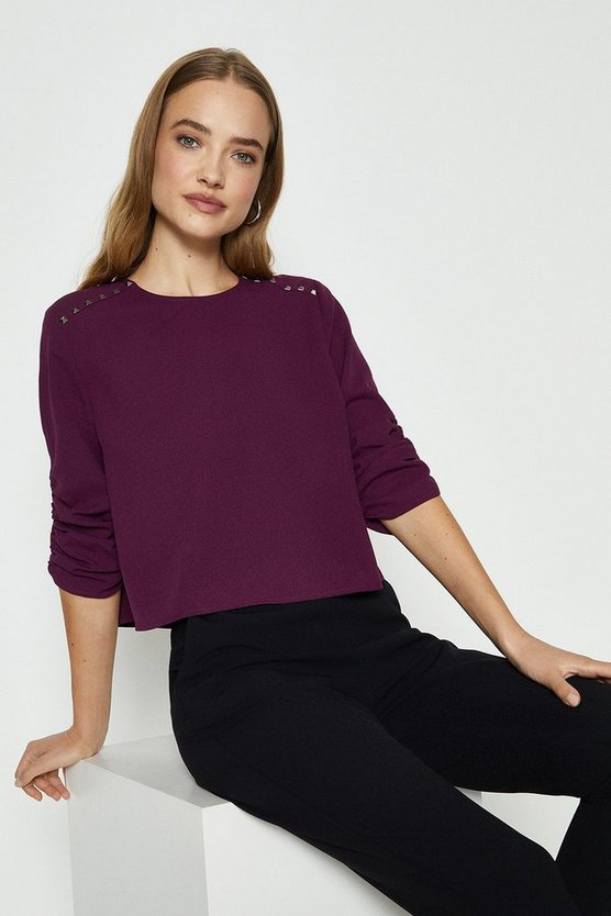 Berry Stud Detail Long Sleeve Top