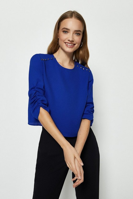 Cobalt Stud Detail Long Sleeve Top