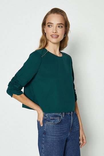 Forest Stud Detail Long Sleeve Top