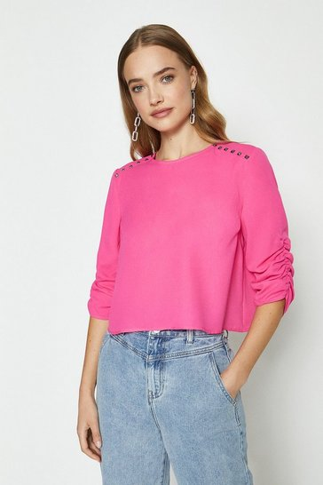 Pink Stud Detail Long Sleeve Top
