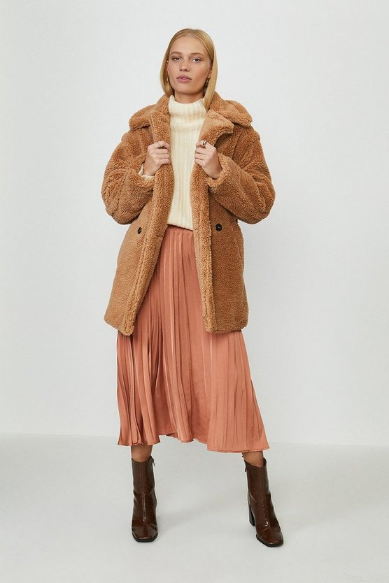 Camel Oversized Teddy Faux Fur Coat
