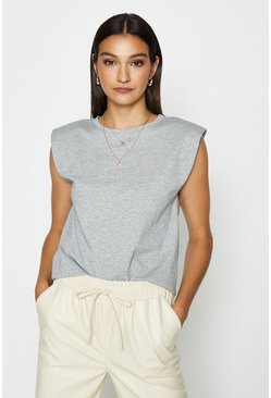 Grey Sleeveless Padded Shoulder T-Shirt