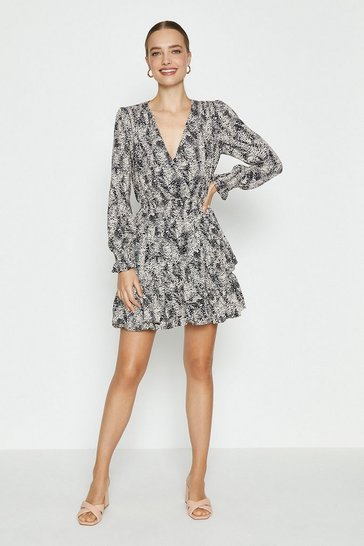 Black Printed Ruffle Detail Wrap Dress