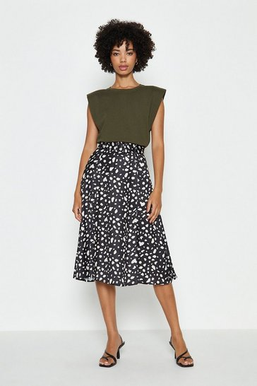 Black Ivivi Smudge Print Belted Midi Skirt