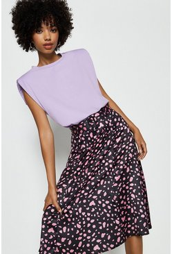 Pink Ivivi Smudge Print Belted Midi Skirt