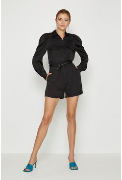 Black Satin Belted Utility Playsuit