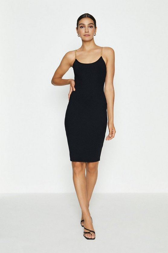 Black Chain Strap Ribbed Bandage Midi Dress