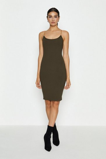 Khaki Chain Strap Ribbed Bandage Midi Dress