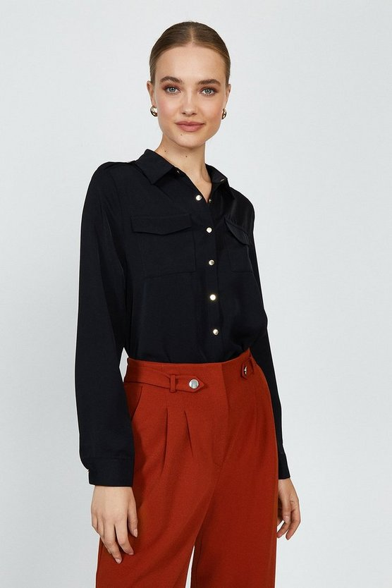 Black Button Up Shirt With Pockets