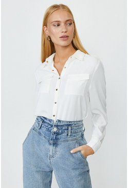 White Button Up Shirt With Pockets