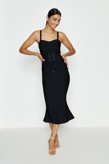 Black Corset Detail Bandage Midi Dress