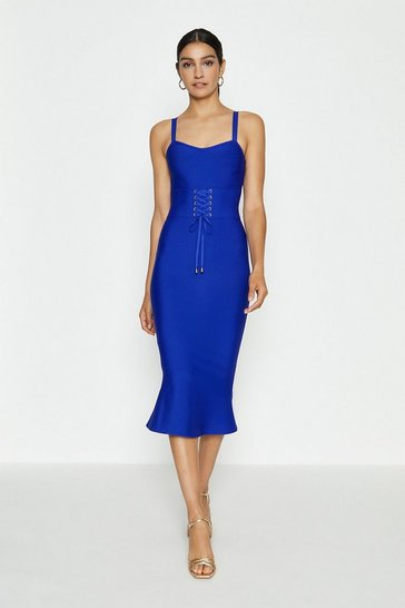Cobalt Corset Detail Bandage Midi Dress