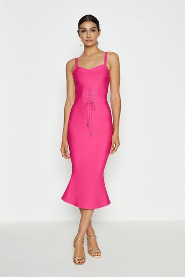 Hot pink Corset Detail Bandage Midi Dress