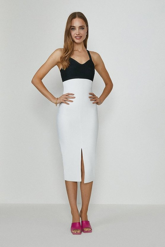 Mono Colour Block Bandage Midi Dress