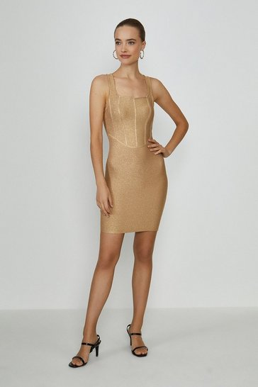 Gold Glitter Structured Bandage Mini Dress