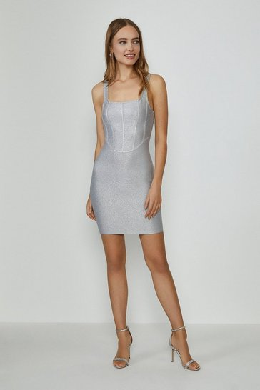 Silver Glitter Structured Bandage Mini Dress