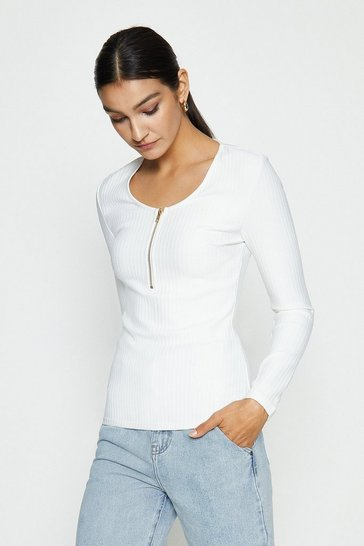 Ivory Zip Up Knitted Bandage Rib Long Sleeve Top