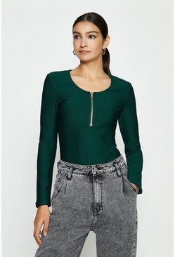 Teal Zip Up Knitted Bandage Rib Long Sleeve Top