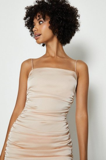 Blush Satin Ruched Cami Mini Dress