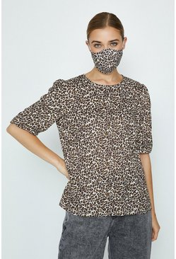 Brown Leopard Fashion Face Mask And Top Set