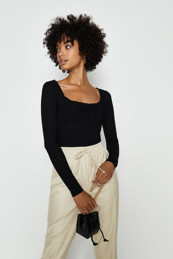 Black Vera Lucy Ribbed Square Neck Top