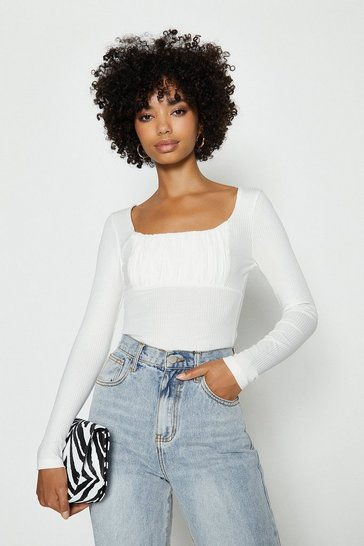 Ivory Vera Lucy Ribbed Square Neck Top