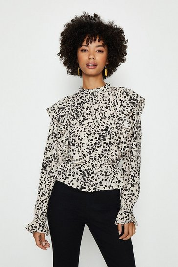 Mono Smudge Print High Neck Ruffle Blouse