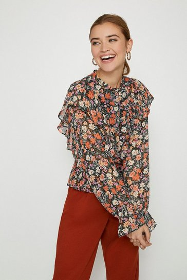 Black High Neck Floral Frill Blouse