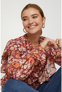 Rust High Neck Floral Frill Blouse
