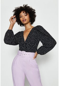 Black Polkadot Vneck Ruched Top