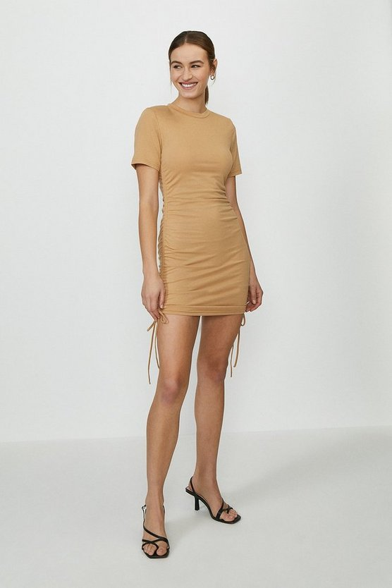 Taupe Ruched Side Tshirt Dress