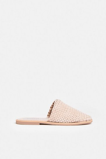 Natural Real Leather Weaved Backless Mules