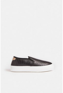 Black Slide On Croc Platform Trainers